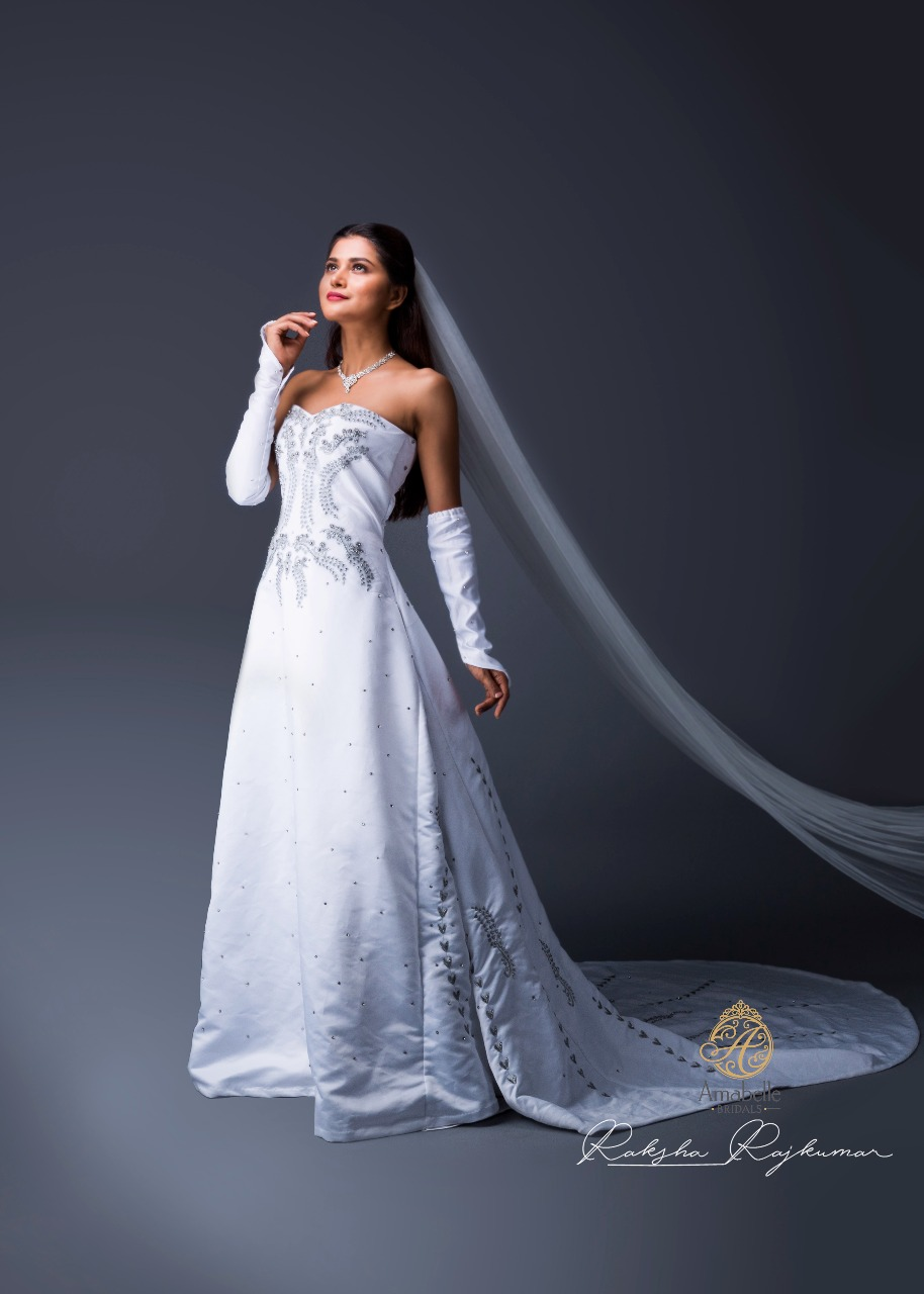 Model in White Bridal Gown