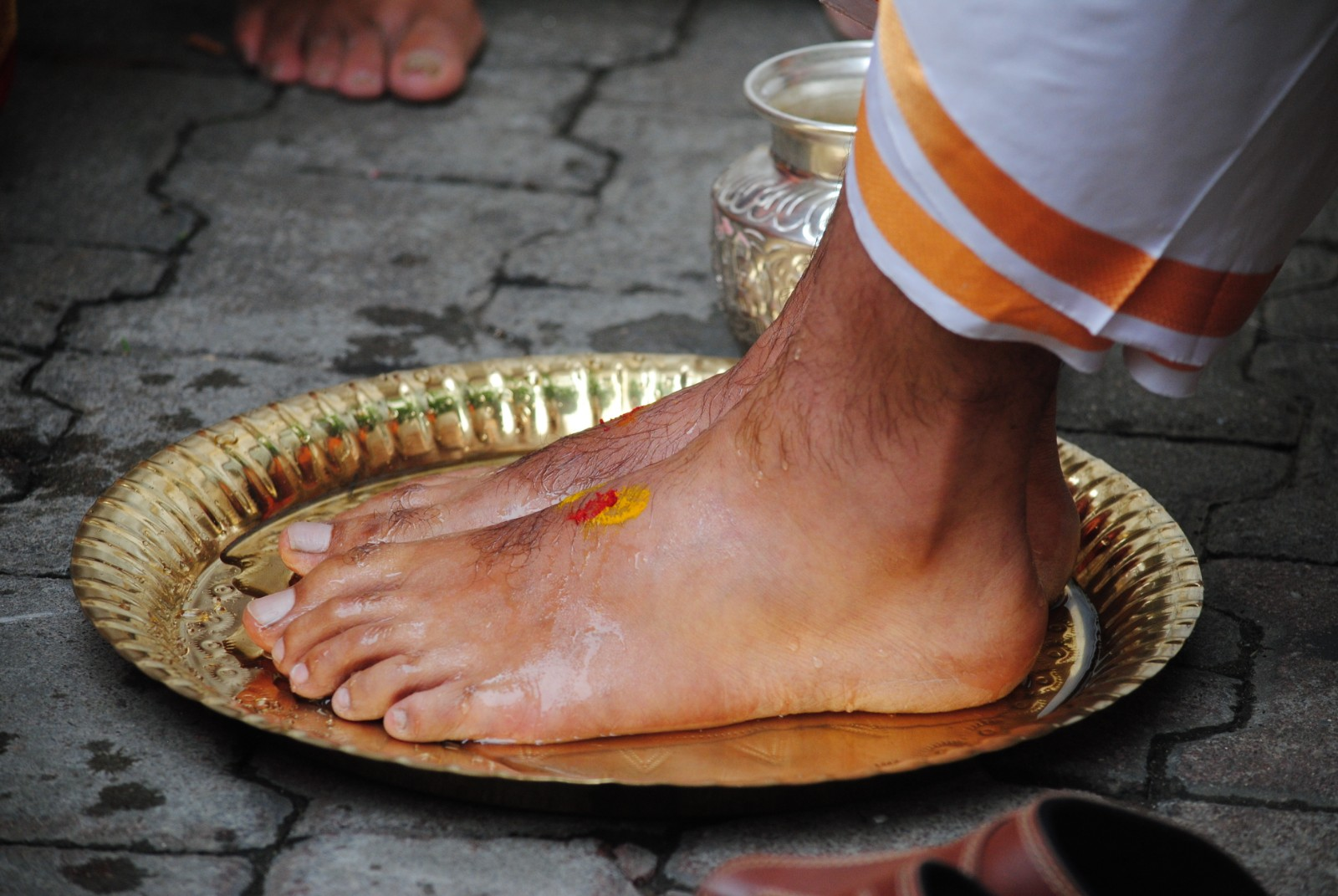 Washing feet, a ritual in hindu weddings